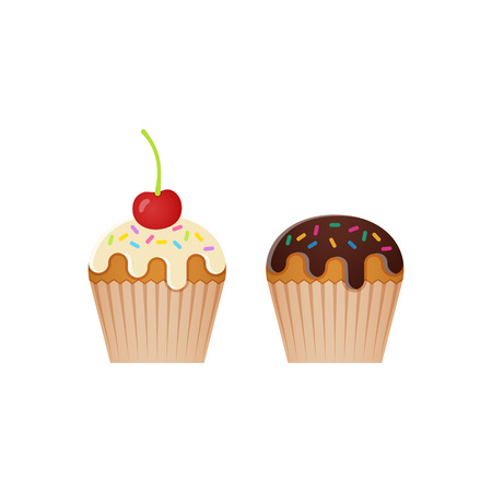 Cupcake, muffin icons. Vector illustration. Set desserts isolated on white background. Junk and sweet snacks in flat design. Unhealthy meal.