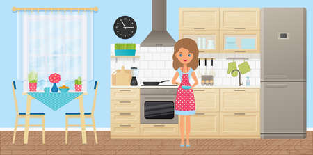 Woman character in kitchen cooking omelet. Vector. Cartoon room interior with animated girl, appliances, furniture, dining area in flat design. Housewife in dotted pot apron.