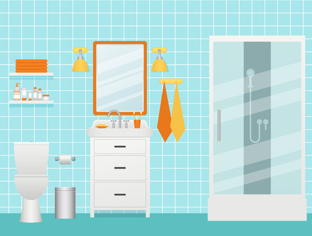 Bathroom interior. Vector. Cartoon room with shower cabin, sink and shelves. Toilet with furniture, plumbing in flat design. Animated illustration.  White turquoise background.