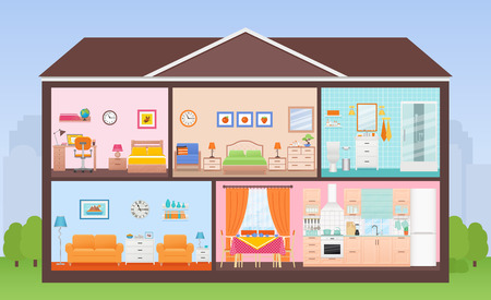 House interior. Vector. House in cut. Cross section with rooms bedroom, living room, kitchen, dining, bathroom, nursery. Home inside with roof, tree, sky. Cartoon cutaway illustration in flat design