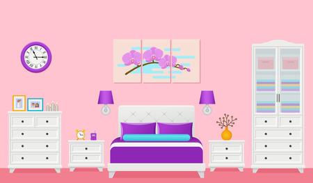 Interior del dormitorio. Habitación de hotel con cama de matrimonio. Vector. Ilustración de espacio para el hogar en diseño plano. Equipo de la casa de dibujos animados en apartamento moderno. Fondo animado violeta rosa colorido.