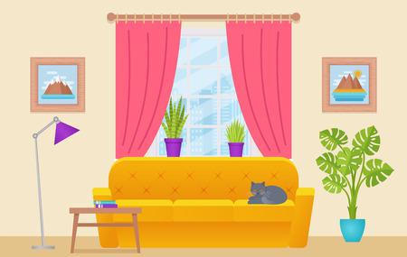 Intérieur du salon. Illustration vectorielle. Salon avec mobilier, fenêtre, cat. Fond d'accueil au design plat. Équipement de maison de dessin animé. Vecteurs