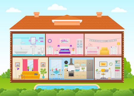 Interior de la casa. Vector. Casa interior en corte con techo, piscina, arbol, cielo. Diseño plano de ilustración de corte de dibujos animados