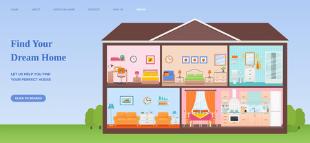 Find dream home web page design templates. Vector. House cross section with rooms Interiors horizontal banner. Illustration concept for website, mobile website, slide, site, infographic in flat style.