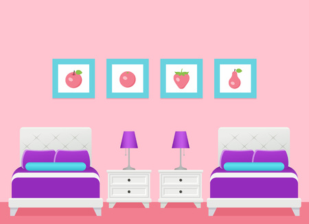 Hotel room. Vector. Bedroom interior with two single beds. Modern home space with furniture in flat design. Cartoon house equipment in apartment. Colorful illustration. Animated background. Ilustración de vector