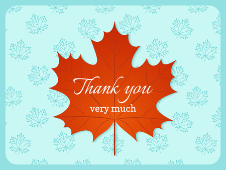 Thank you card. Vector. Banner with autumn maple leaf. Thank you very much typography note background. Floral foliage wedding design. Colorful illustration. 向量圖像