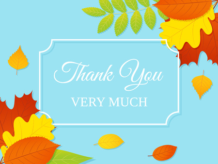 Thank you card. Vector. Banner with autumn leaves. Thank you very much typography note background. Floral foliage wedding design. Colorful illustration.