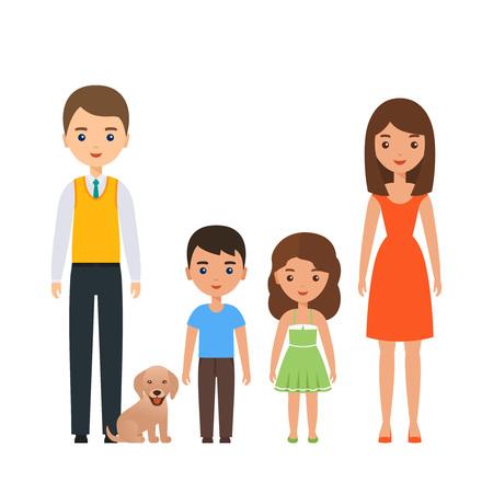 Famille debout ensemble. Vecteur. Couple de personnages avec des enfants. Portrait parents avec fils, fille, chien. Bande dessinée jeunes adultes mère, père, enfants au design plat isolé sur fond blanc