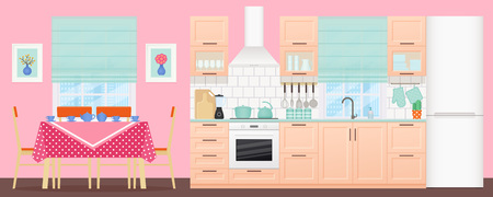 Kitchen dining room interior. Vector. Room with appliances, furniture table, stove, cupboard, blender, fridge and window in flat design. Cooking animated banner. Cartoon illustration. Vetores