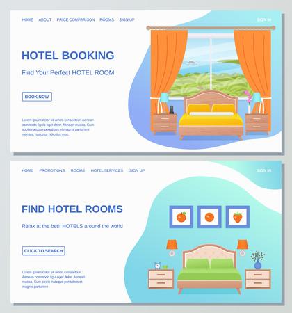 Hotel room web page design templates. Vector. Hotel booking, find room banner, flyer, website, site. Bedroom Interior poster with furniture, sea landscape window, bed, text. Cartoon flat illustration. Illustration