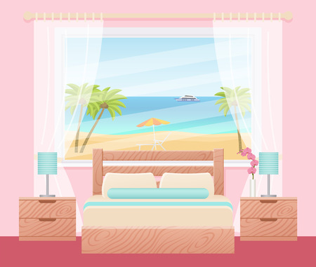 Hotel room with ocean sea landscape view window. Vector. Bedroom interior with double bed. Flat design background hotel room. Modern home space with furniture. Cartoon illustration in pink, turquoise.