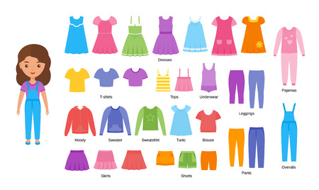 Girl clothes. Vector. Baby clothing. Cartoon female character paper doll with casual cloths set isolated on white background. Illustration of children dresses, pants, skirts, shorts, knitwear, blouse.