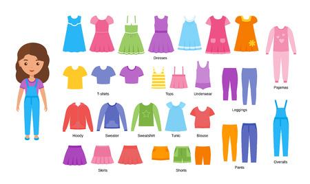 Meisjes kleding. Vector. Babykleren. Cartoon vrouwelijke karakter papieren pop met casual doeken set geïsoleerd op een witte achtergrond. Illustratie van kinderjurken, broeken, rokken, korte broeken, breigoed, blouse.