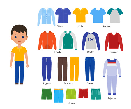 Boy with clothes. Vector. Baby clothing. Cartoon character paper doll with casual cloths set isolated on white background. Illustration of children pants, shirts, shorts, knitwear and pajamas. Ilustracje wektorowe
