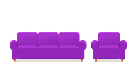 Sofa, couch, armchair icon. Vector. Furniture in flat design. Animated violet house equipment for living room isolated on white background. Cartoon set elements for lounge. Illustration