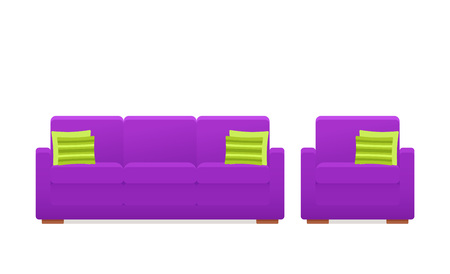 Sofa, couch, armchair icon. Vector. Furniture in flat design. Animated violet house equipment for living room isolated on white background. Cartoon set elements for lounge. Vettoriali