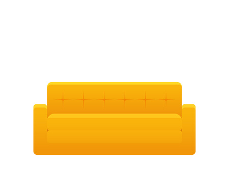 Sofa, couch, icon. Vector. Furniture in flat design. Animated yellow house equipment for living room isolated on white background. Cartoon element for lounge. Illustration