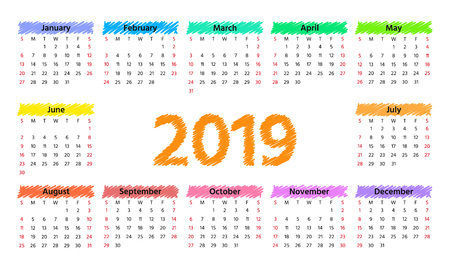 2019 Calendar. Vector. Week starts Sunday in minimal simple style. Stationery 2019 year horizontal template. Yearly calendar organizer for weeks. Landscape orientation, english. Colorful illustration. Ilustração