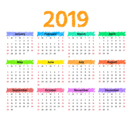 2019 Calendar. Vector. Week starts Sunday in minimal simple style. Stationery 2019 year horizontal template. Yearly calendar organizer. Landscape orientation, english. Colorful illustration.