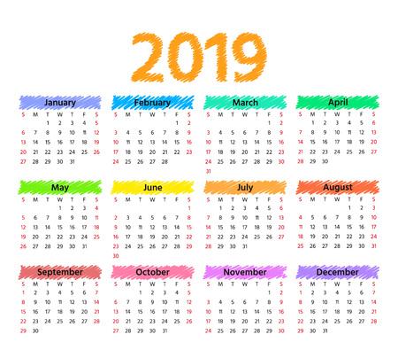 2019 Calendar. Vector. Week starts Sunday in minimal simple style. Stationery 2019 year horizontal template. Yearly calendar organizer. Landscape orientation, english. Colorful illustration.