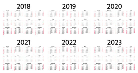 Kalender 2018, 2019, 2020, 2021, 2022, 2023 jaar. Vector. Week begint zondag. Briefpapier 2019 verticale sjabloon in eenvoudig minimaal ontwerp. Jaarlijkse kalenderorganisator voor weken. Portret oriëntatie.