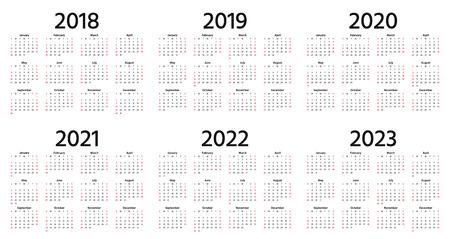 Kalender 2018, 2019, 2020, 2021, 2022, 2023 Jahre. Vektor. Die Woche beginnt am Sonntag. Vertikale Vorlage für Schreibwaren 2019 in einfachem, minimalem Design. Jährlicher Kalenderorganisator für Wochen. Hochkant.