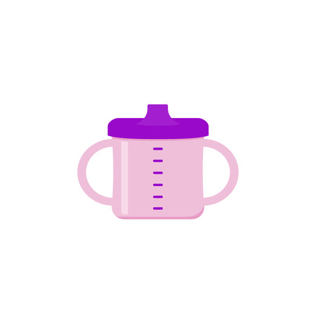 Baby cup with handles. Toddler spout mag icon. Vector. Drinker bottle isolated on white background in flat design. Cartoon illustration. Baby items for newborns.