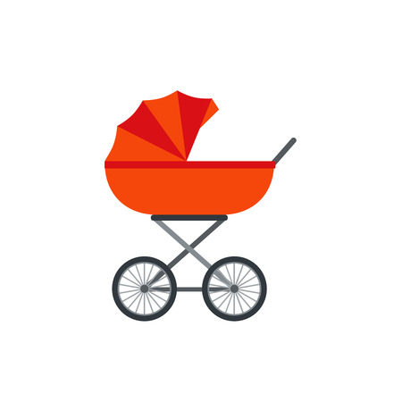 Pram, baby carriage. Vector. Stroller icon isolated on white background in flat design. Cartoon illustration.