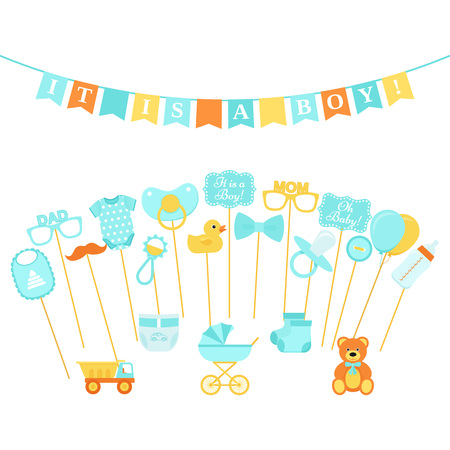 Baby shower photo props, booth on sticks. Vector. Birth reveal party for baby boy. Blue speech bubble, flags for newborn, parents. Photobooth set bib, bodysuit, bottle, nipple, stroller, rattle, duck.