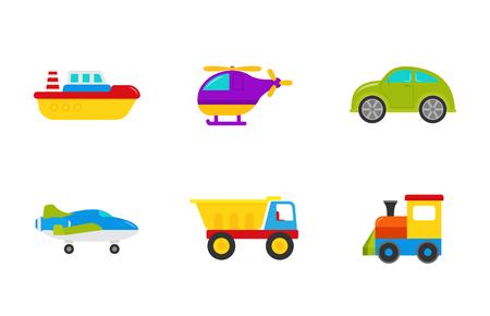 Juguetes de bebe. Vector. Establecer juguetes de transporte para niños con automóvil, bote, camión, avión, tren y helicóptero. Elementos de ducha de bebé lindo en diseño plano aislado sobre fondo blanco. Ilustración de dibujos animados coloridos. Ilustración de vector