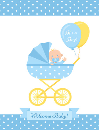 Carte de garçon de douche de bébé. Vecteur. Bannière bleue mignonne avec landau, nouveau-né, motif à pois. Affiche de fête de naissance de bébé au design plat. Modèle doux inviter l'arrière-plan. Illustration de dessin animé coloré.