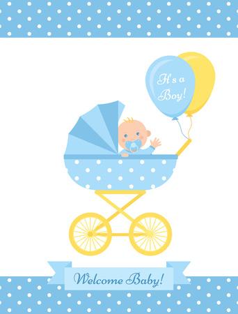 Tarjeta de Baby Shower boy. Vector. Linda pancarta azul con cochecito, recién nacido, patrón de lunares. Cartel de fiesta de nacimiento de bebé niño en diseño plano. Plantilla dulce invitar a fondo. Ilustración de dibujos animados coloridos.