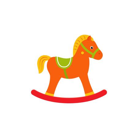 Cavallo a dondolo, giocattolo per bambini. Vettore. Icona del giocattolo per bambini isolato su priorità bassa bianca nella progettazione piana. Illustrazione del fumetto.