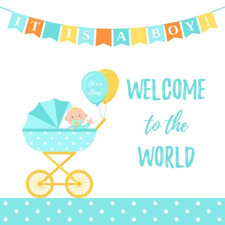 Carte de garçon de douche de bébé. Vecteur. Bannière bleue mignonne avec landau, enfant, drapeaux, motif à pois. Affiche de fête de naissance de bébé au design plat. Modèle doux inviter l'arrière-plan. Illustration de dessin animé coloré. Vecteurs
