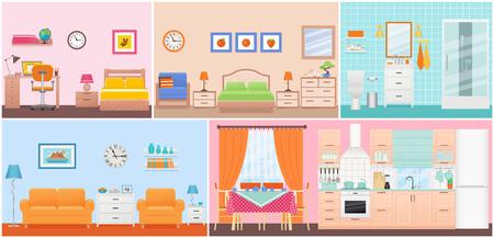 Interiores de habitaciones. Vector. Sala, dormitorio, baño, guardería, comedor, cocina en diseño plano. Hogar adentro. Apartamento doméstico de dibujos animados con ventana. Equipamiento del hotel de la casa, muebles. Establecer ilustración