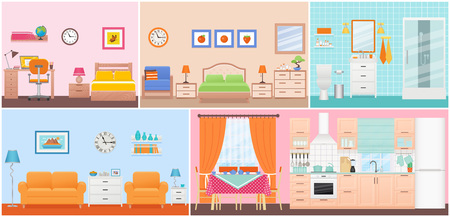 Room interiors. Vector. Living room, bedroom, bathroom, nursery, dining, kitchen in flat design. Home inside. Cartoon domestic apartment with window. House hotel equipment, furniture. Set illustration
