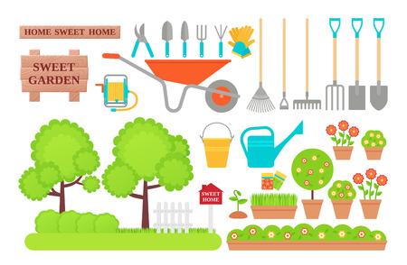 Garden tools. Gardening collection. Vector. Instrument icons for horticulture shovel, watering equipment, scissors, rake, seed, plant, pruner. Set isolated white background. Cartoon flat illustration Ilustração Vetorial