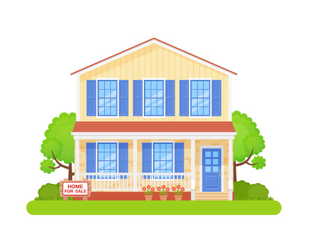 House sale sign. Vector. Home building exterior with sale wooden board. Advertising banner retail estate of residential property. Cottage facade, garden yard in flat design Cartoon illustration. Illustration
