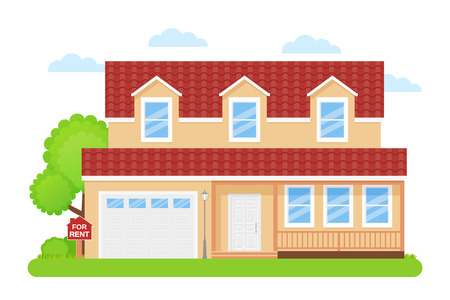 House rent sign. Vector. Rent sale wooden board with home building. Advertising banner retail estate of residential property. Cottage facade, exterior garden yard in flat design. Cartoon illustration Illustration