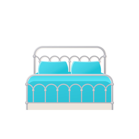 Bed. Vector. Double metal bed in flat design for bedroom, hotel room. Cartoon furniture icon isolated on white background. Retro house equipment. Animated illustration. Illustration