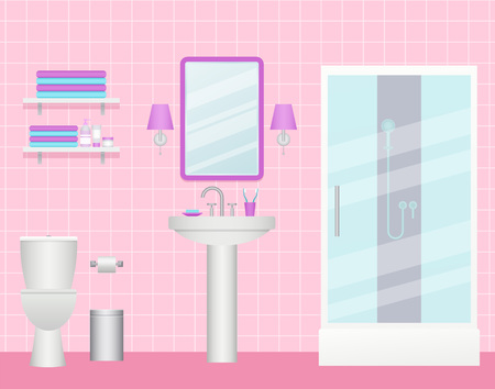 Bathroom interior. Vector. Cartoon wash room with shower cabin, sink and shelves. Care equipment. Toilet with furniture, plumbing in flat design. Animated illustration. White pink background.