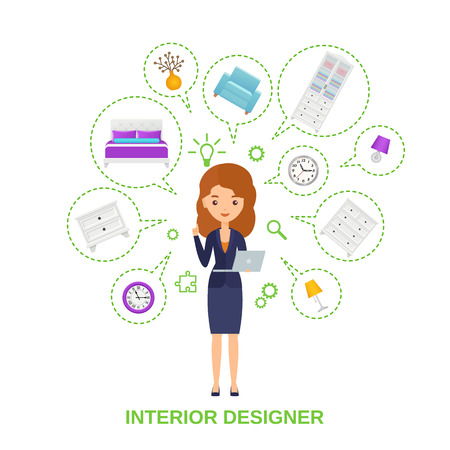 Female interior designer with furniture around in speech bubbles. Vector. Standing women character. Interior decoration concept. Cartoon flat illustration Girl holding laptop in dress on white isolate
