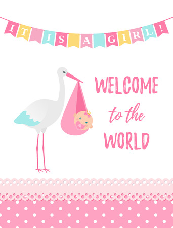 Baby Shower girl card. Vector. Baby girl design. Cute pink banner with newborn kid, stork, flag, polka dot. Birth party background. Happy greeting poster. Welcome template invite. Cartoon illustration Standard-Bild - 127459245