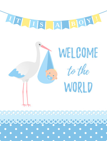 Baby Shower boy card. Vector. Baby boy design. Cute blue banner with newborn kid, stork, polka dot, flag. Birth party background. Happy greeting poster. Welcome template invite. Cartoon illustration. Standard-Bild - 127459246