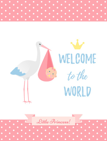 Baby Shower boy card. Vector. Baby boy design. Cute blue banner with newborn kid, pram, polka dot, flag. Birth party background. Happy greeting poster. Welcome template invite. Cartoon illustration. Standard-Bild - 127459248
