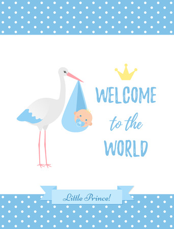 Baby Shower boy card. Vector Baby boy design. Cute blue banner. Birth party background. Happy greeting poster with newborn kid, stork, polka dot, ribbon. Welcome template invite. Cartoon illustration Standard-Bild - 127459249