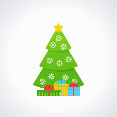 Christmas tree. Vector. Tree icon in flat design. Merry spruce fir. Xmas cartoon background. Green pine with star, snowflake, gift box. Winter illustration isolated on white. Computer graphic.