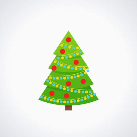 Christmas tree. Vector. Tree icon in flat design. Xmas spruce fir. Merry cartoon background. Green pine with garland, balls. Winter illustration isolated on white. Computer graphic. Vettoriali