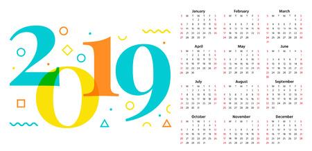 2019 Calendar. Vector. Stationery 2019 year horizontal pocket template. Week starts Sunday in minimal simple style. Yearly calendar organizer. Landscape orientation, english. Colorful illustration.