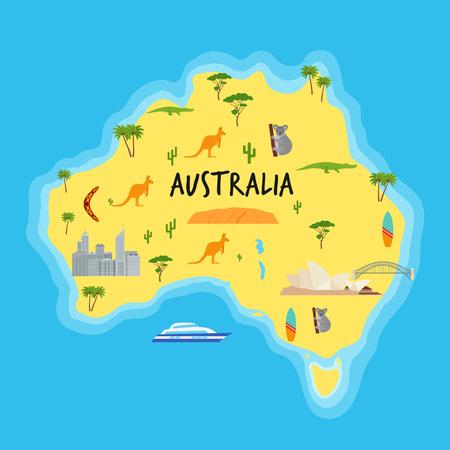 Australia cartoon map. Vector. Australian state with travel icons and ocean. Landmarks Australia kangaroo, koala, boomerang. Color illustration. Flat design.